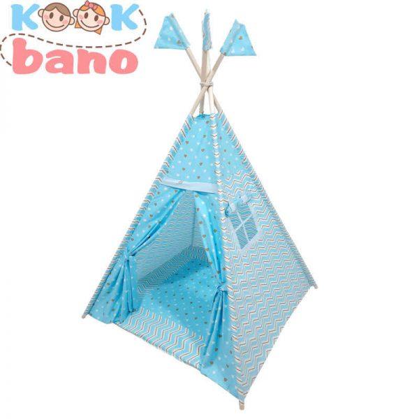 چادر بازی کودک آبی مدل سرخپوستی