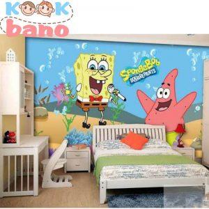 طراحی تزیینات اتاق بچه به شکل کارتونباب اسفنجی