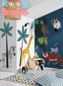 طراحی و تزیین دیوار های اتاق کودک بانقاشی حیوانات: