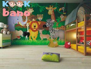 طراحی و تزیین اتاق کودک با با تم :جنگل حیوانات وحشی: