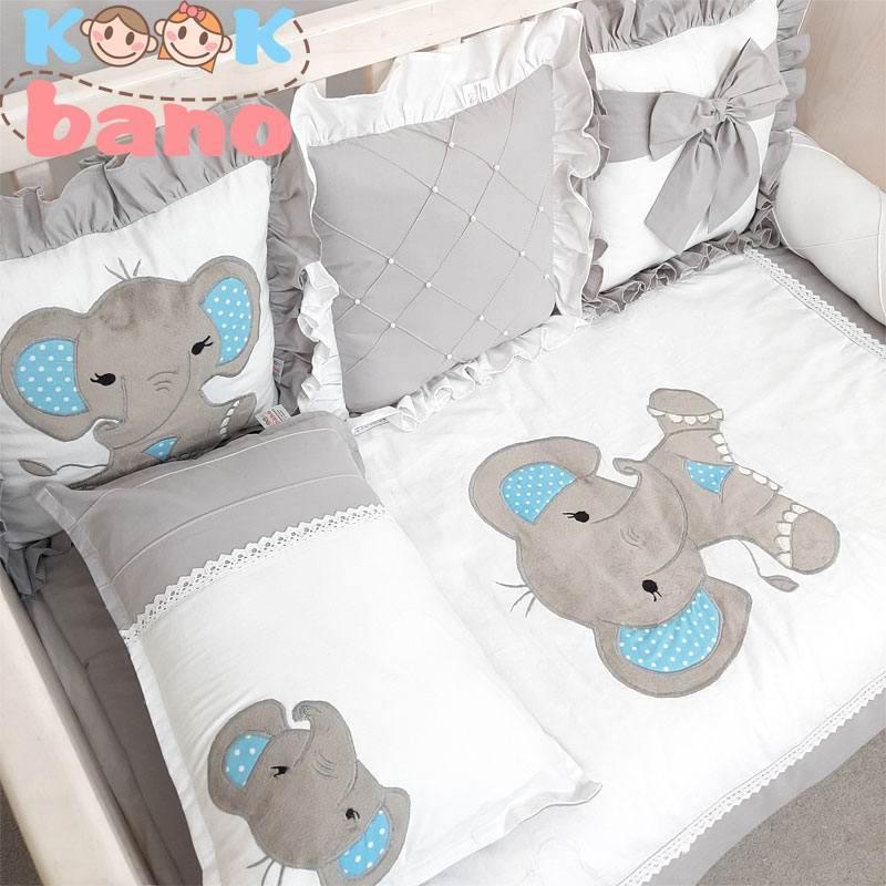 سرویس خواب کودک 8 تکه مدل Velvet Gray Elephant
