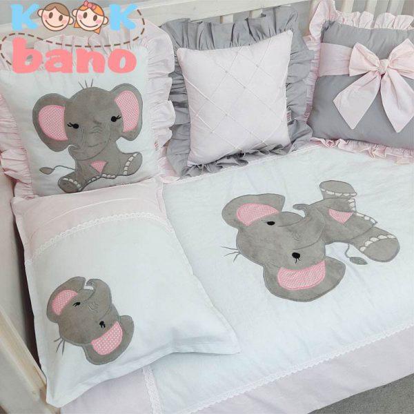 سرویس خواب کودک 8 تکه مدل Velvet Pink Elephant