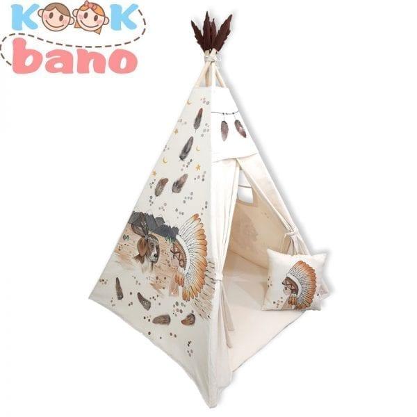 چادر بازی کودک نقاشی شده طرح سرخپوستی مدل Little Indians and Labrador