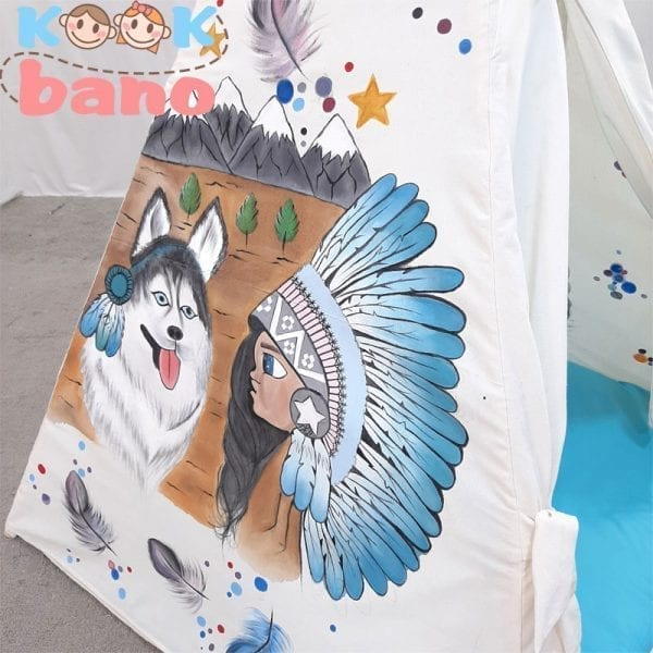 چادر بازی کودک طرح سرخپوستی مدل Little Indian and Husky